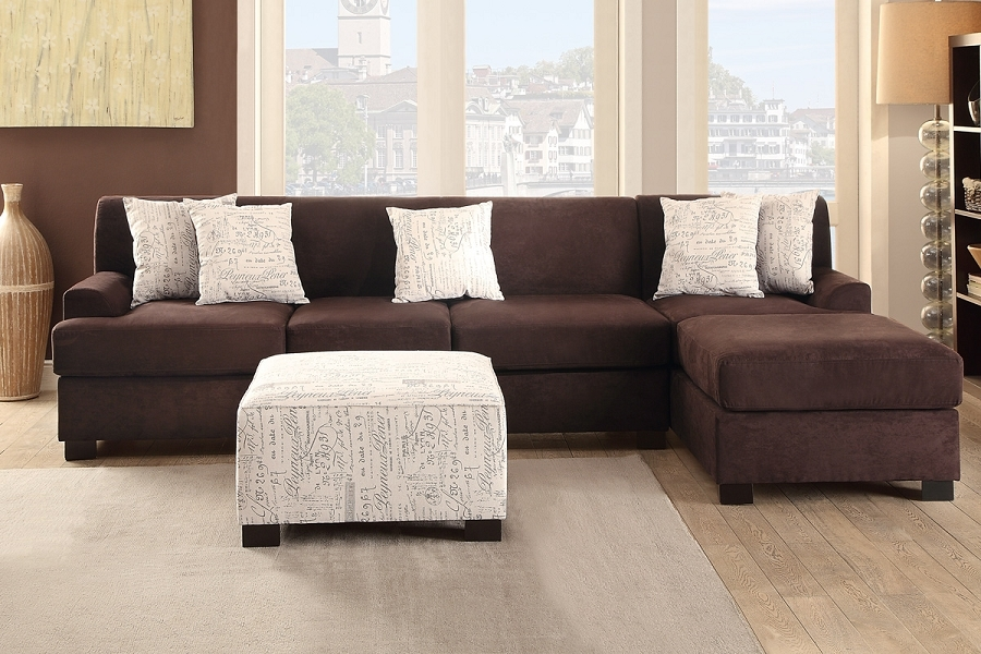 Casual 3 Piece Chocolate Micro Suede Sofa Sectional Chaise Accent clearly within Chocolate Brown Sectional Sofa (Image 13 of 20)