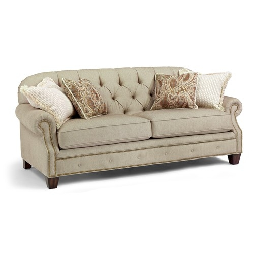 Champion Transitional Button Tufted Sofa With Rolled Arms And clearly within Ashley Tufted Sofa (Image 8 of 20)