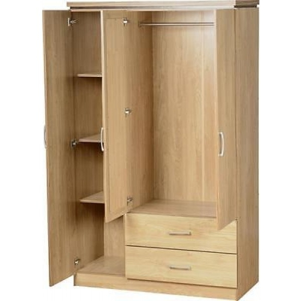 Charles 3 Door 2 Drawer Mirrored Wardrobe definitely for 3 Door Wardrobe With Drawers and Shelves (Image 19 of 30)