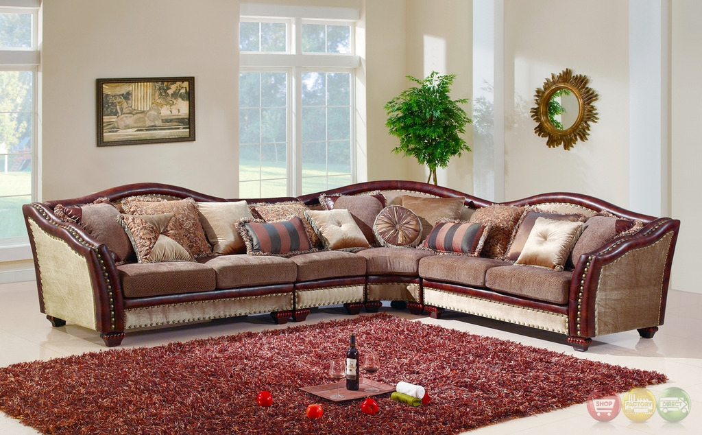 Chateau Formal Antique Style Traditional Living Room Furniture good throughout Chenille Sectional Sofas (Image 2 of 20)