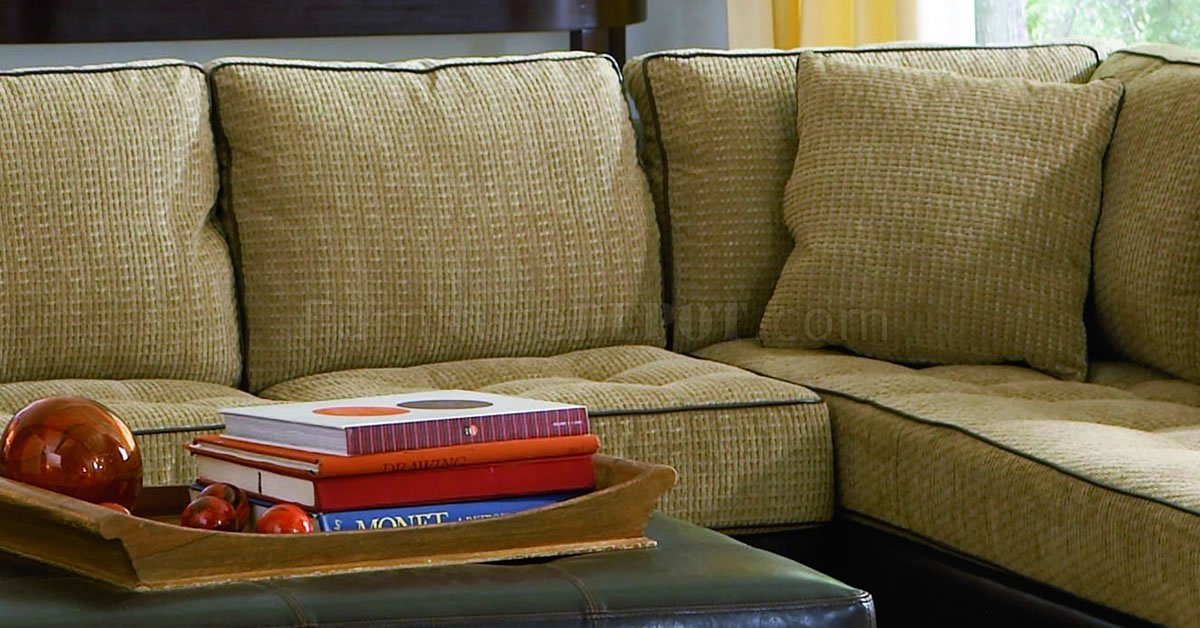 Chenille Fabric Contemporary Sectional Sofa Wvinyl Base certainly pertaining to Chenille and Leather Sectional Sofa (Image 3 of 20)