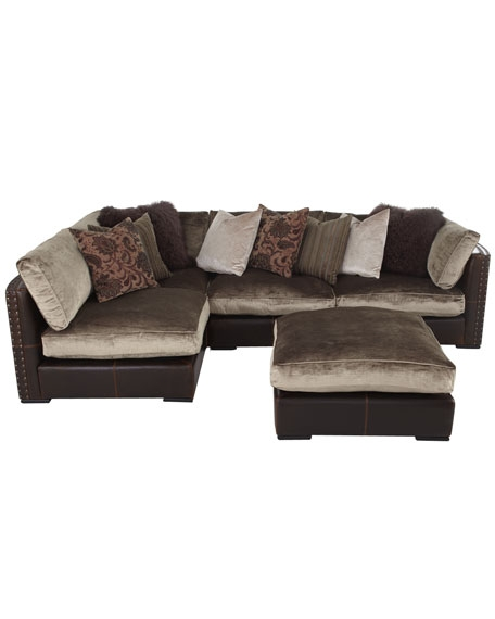 Chenille Leather Sectional Sofa Five Piece Set Very Well Within Chenille And Leather Sectional Sofa (View 5 of 20)