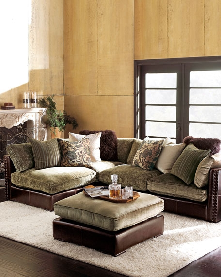 Chenille Leather Sectional Sofa most certainly throughout Chenille Sectional Sofas (Image 3 of 20)