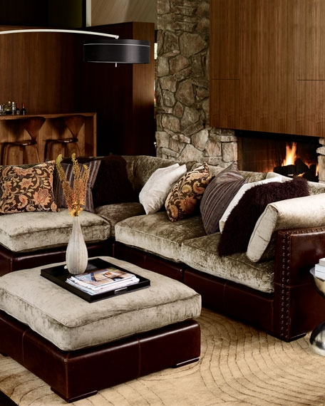 Chenille Leather Sectional Sofa very well with Chenille and Leather Sectional Sofa (Image 6 of 20)