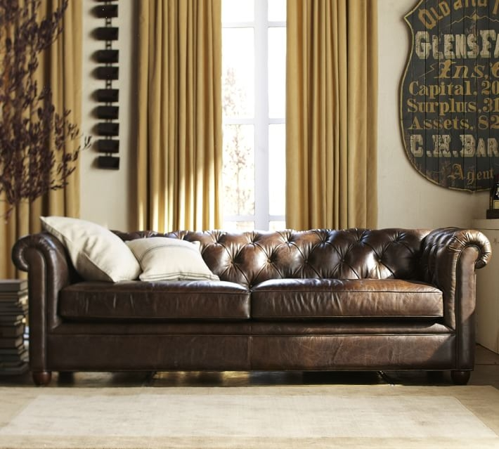 Chesterfield Leather Sofa Pottery Barn clearly for Chesterfield Sofas (Image 5 of 20)