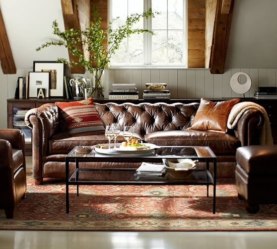 Chesterfield Leather Sofa Pottery Barn most certainly in Chesterfield Furniture (Image 6 of 20)