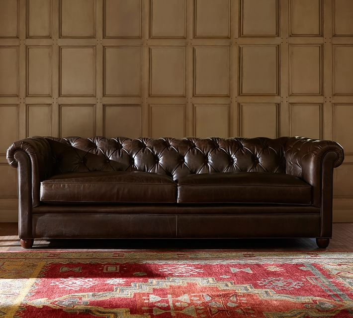 Chesterfield Leather Sofa Pottery Barn very well for Leather Chesterfield Sofas (Image 6 of 20)