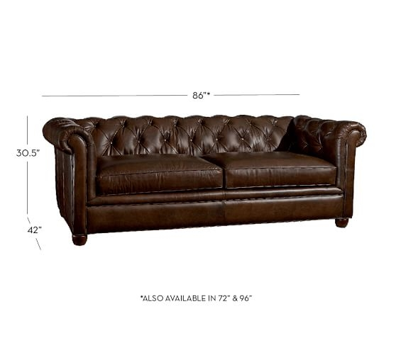 Chesterfield Leather Sofa Pottery Barn well in Leather Chesterfield Sofas (Image 7 of 20)