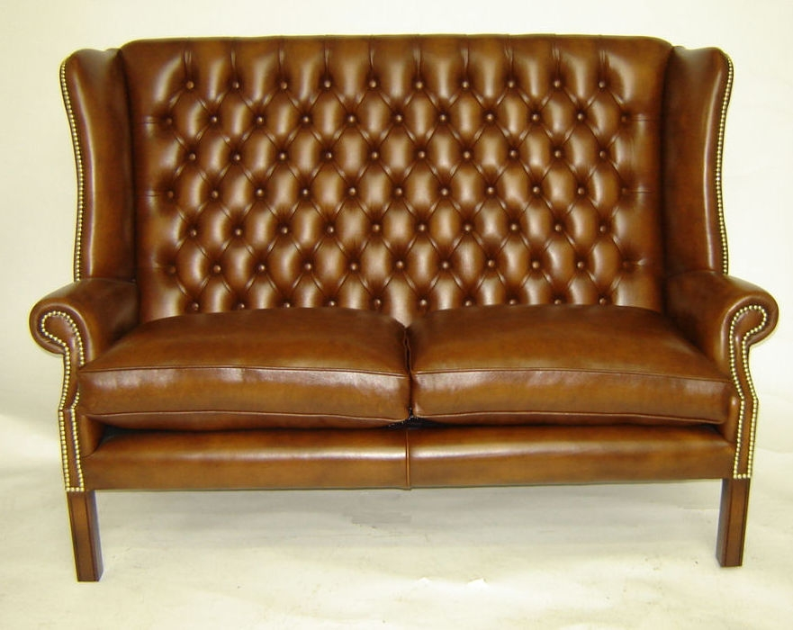 Chesterfield Sofa Leather 2 Seater Brown York Kingsgate most certainly pertaining to Chesterfield Sofas and Chairs (Image 6 of 20)