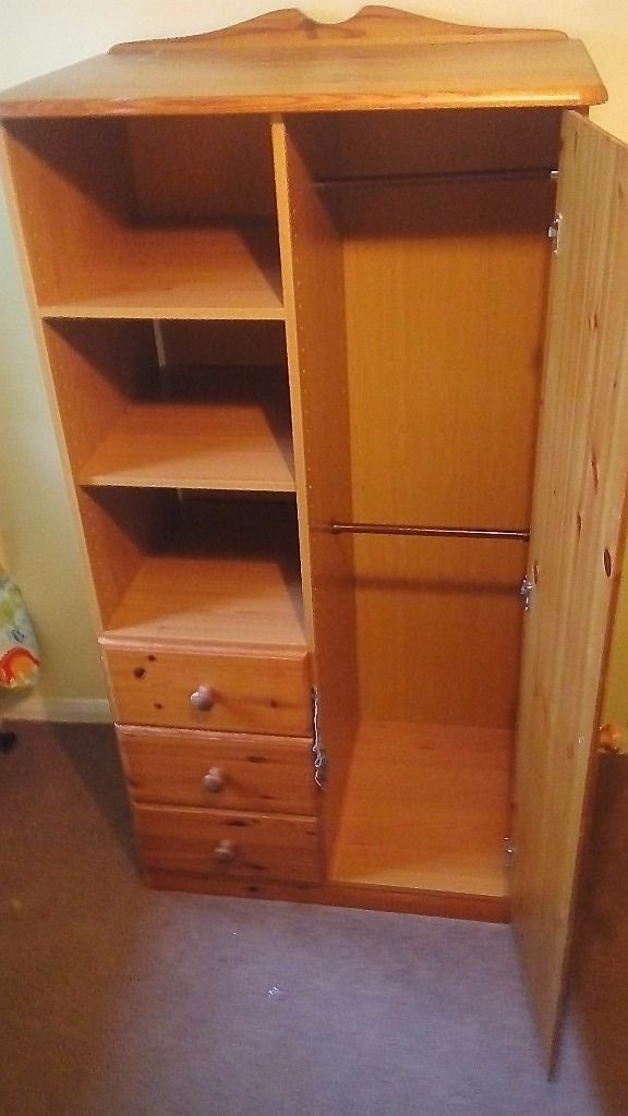 Childs Pine Wardrobe With Shelves And Drawers In Wirral most certainly for Pine Wardrobe With Drawers And Shelves (Image 2 of 30)