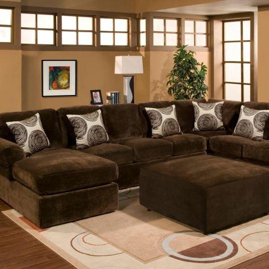 Chocolate Brown Sectional Sofa Large Brown Sectional perfectly inside Chocolate Brown Sectional Sofa (Image 14 of 20)