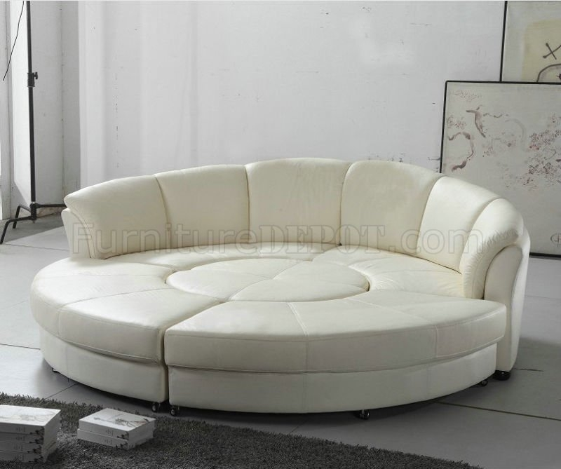 Circle Sectional Sofa In White Bonded Leather Vig Good In Circle Sectional Sofa (View 6 of 20)