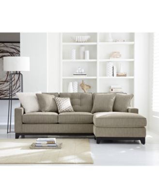 Clarke Fabric 2 Piece Sectional Sofa With Chaise Created For Properly Inside Small 2 Piece Sectional Sofas (View 7 of 20)