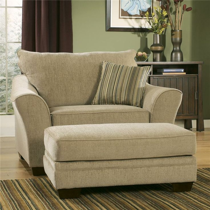 Classic Creamy Oversized Accent Chair With Stripe Patterned certainly in Oversized Sofa Chairs (Image 9 of 20)