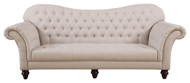 Classic Tufted Linen Victorian Sofa Victorian Sofas Sofamania most certainly inside Tufted Linen Sofas (Image 6 of 20)