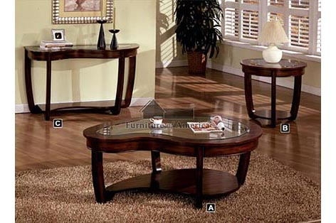 Cm4336c Furniture Of well within Cherry Wood Coffee Table Sets (Image 10 of 20)