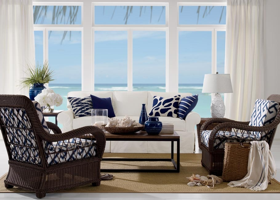 Coastal Living Room Ethan Allen good throughout Ethan Allen Sofas and Chairs (Image 6 of 20)
