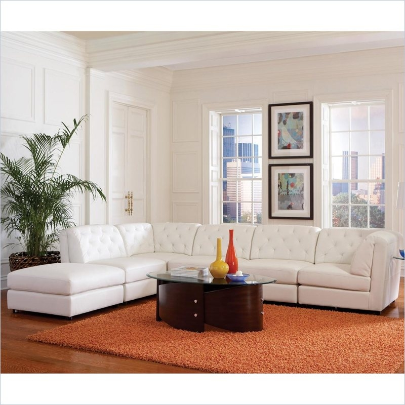 Coaster Quinn Transitional Modular Leather Sectional Sofa In White clearly with Contemporary Black Leather Sectional Sofa Left Side Chaise (Image 13 of 20)