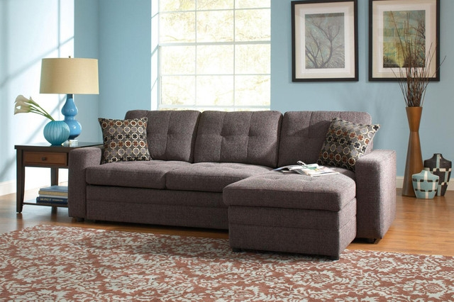 Coaster Small Chenille Storage Sectional Sofa Left Chaise Sleeper nicely throughout Chenille And Leather Sectional Sofa (Image 8 of 20)