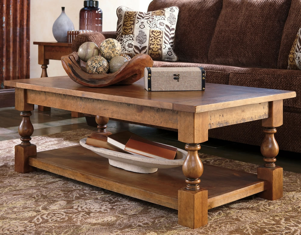 Coffee Table Casual Rustic Wood Coffee Table With Bottom Shelf properly regarding Quality Coffee Tables (Image 8 of 20)