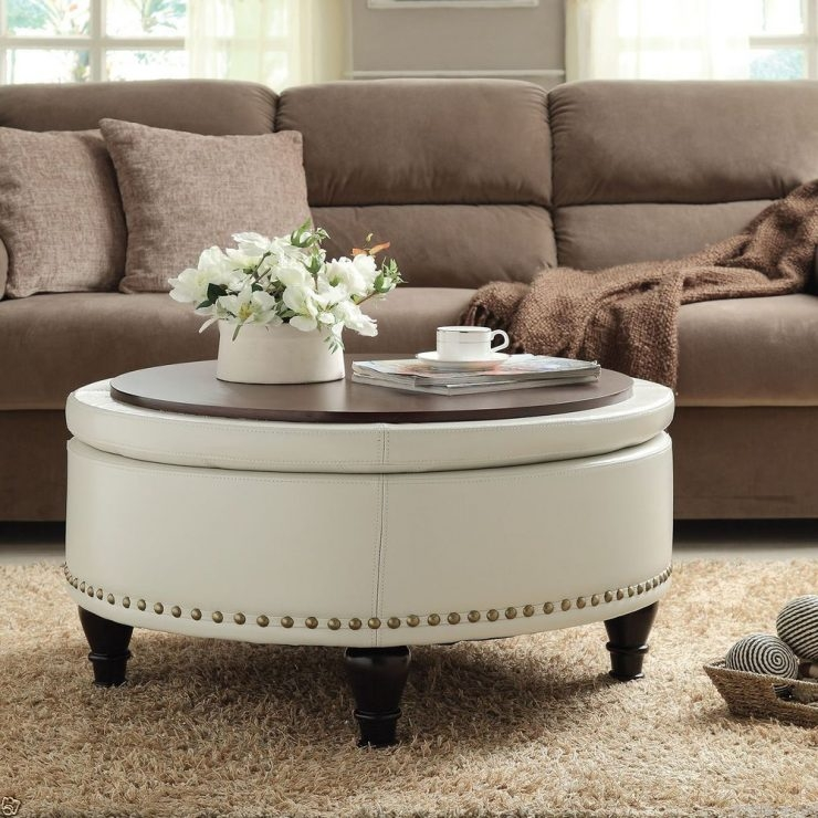 Coffee Table Ottoman Coffee Table Tray Round Serving Tray definitely pertaining to Oversized Round Coffee Tables (Image 8 of 20)