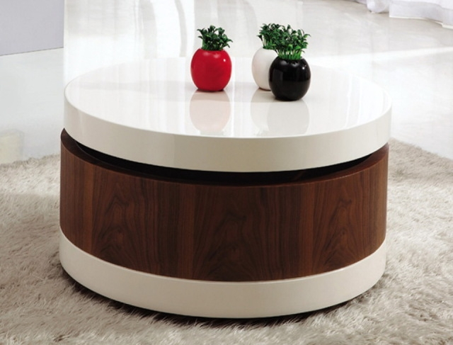 Coffee Table Outstanding Round Coffee Table With Storage In Your nicely inside Round Coffee Tables With Storages (Image 6 of 20)