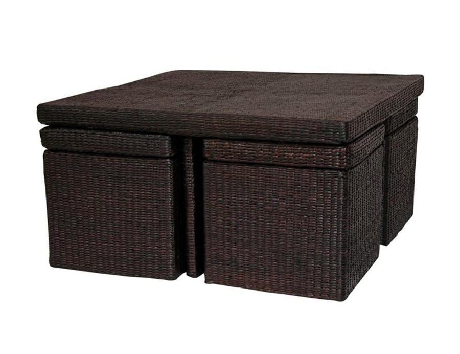 Coffee Table With Nesting Stools perfectly intended for Coffee Tables With Nesting Stools (Image 8 of 20)