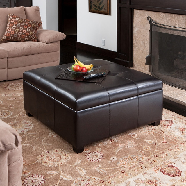 Coffee Table With Storage Ottomans Underneath Lucinda Faux most certainly with regard to Brown Leather Ottoman Coffee Tables With Storages (Image 13 of 20)