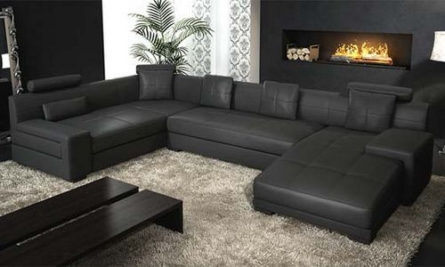 Contemporary Black Leather Sectional Natuzzi Modern Natuzzi well regarding Large Black Leather Corner Sofas (Image 7 of 20)