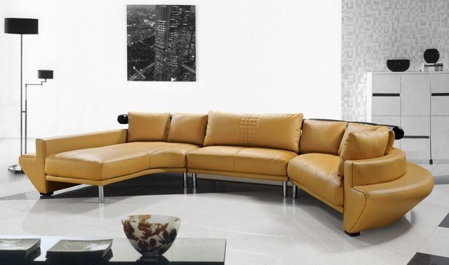 Contemporary Curved Sectional Sofa In Mustard Leather Modern effectively in Angled Sofa Sectional (Image 5 of 20)