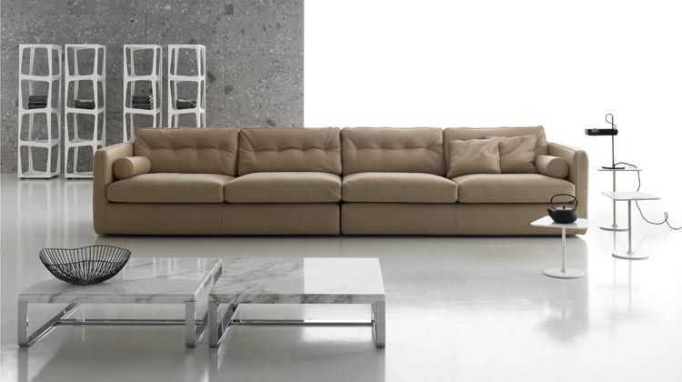 Contemporary Sofa Leather Fabric 4 Seater Dublin Very Well With 4 Seater Couch (View 10 of 20)