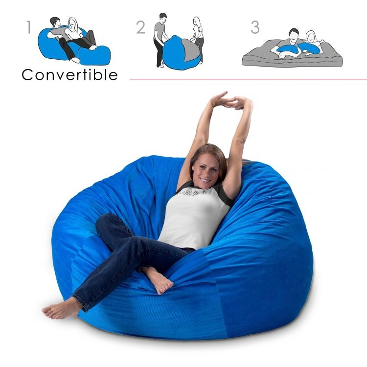 Convertible Bean Bag Chair Converts From A Chair To A Mattress Bed clearly within Bean Bag Sofas and Chairs (Image 14 of 20)