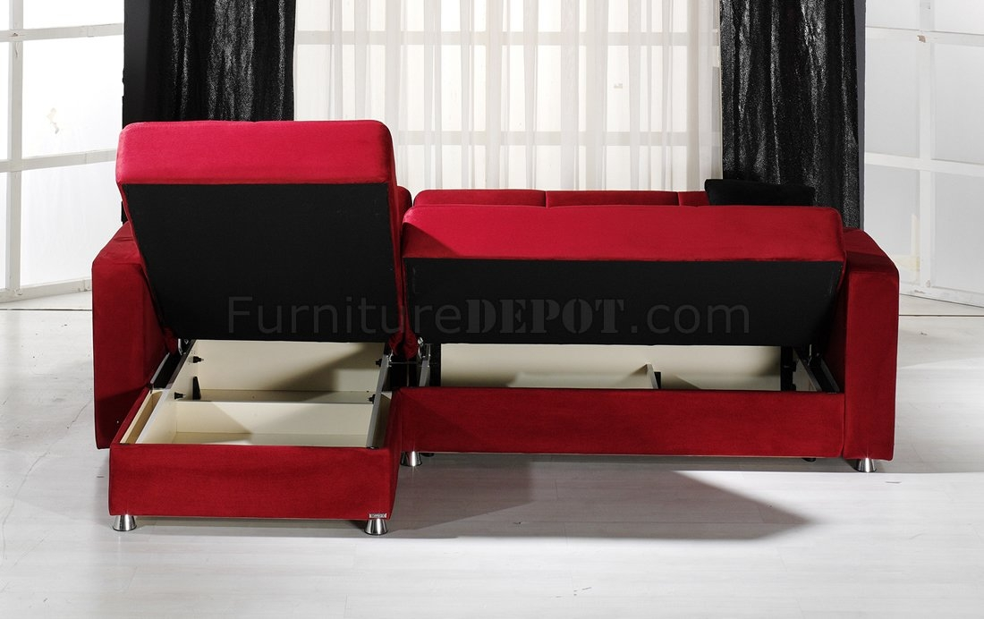 Convertible Sectional Sofa Wstorages In Red Microfiber definitely within Convertible Sectional Sofas (Image 6 of 20)