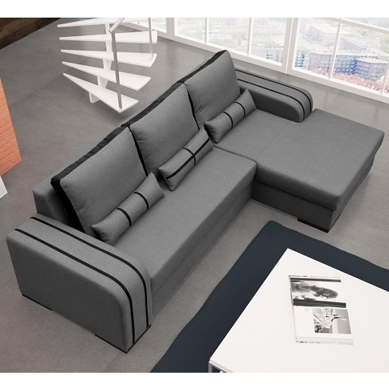Corano Fabric Corner Sofa Bed In Grey And Black With definitely pertaining to Fabric Corner Sofa Bed (Image 5 of 20)