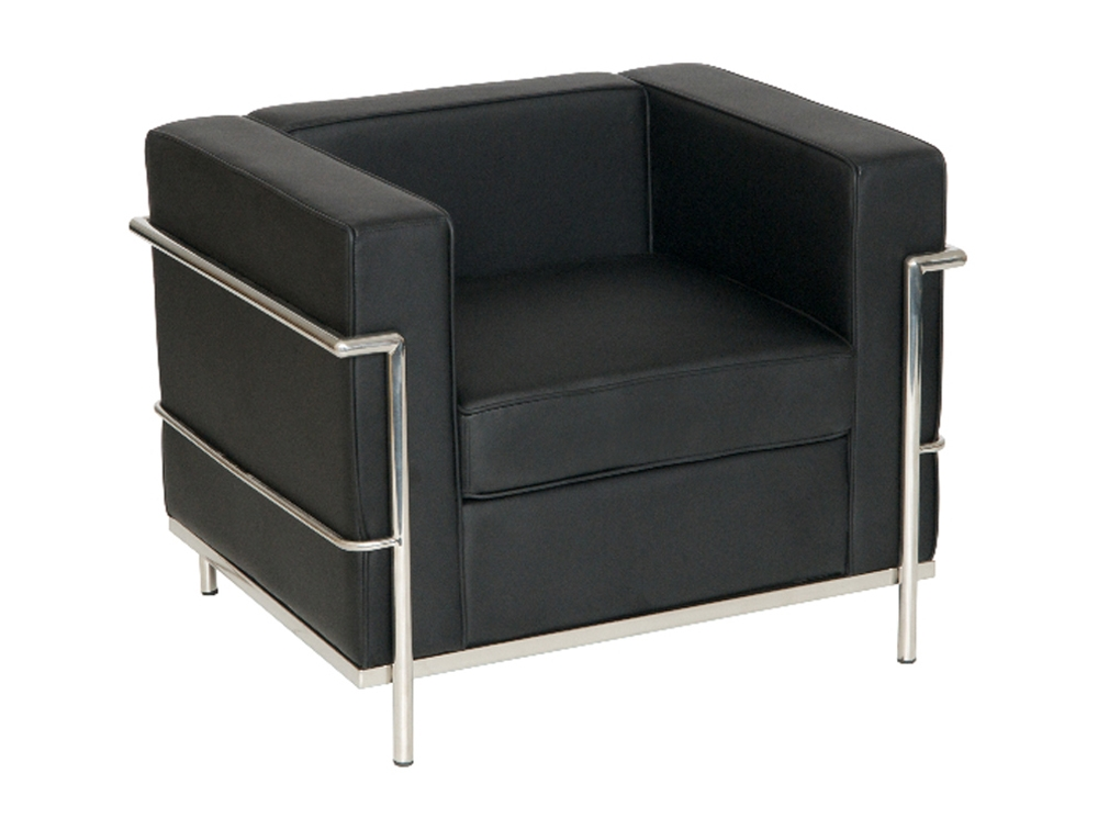 Corbusier Style 2 Seater Sofa In Black Eco Leather most certainly for Black 2 Seater Sofas (Image 10 of 20)
