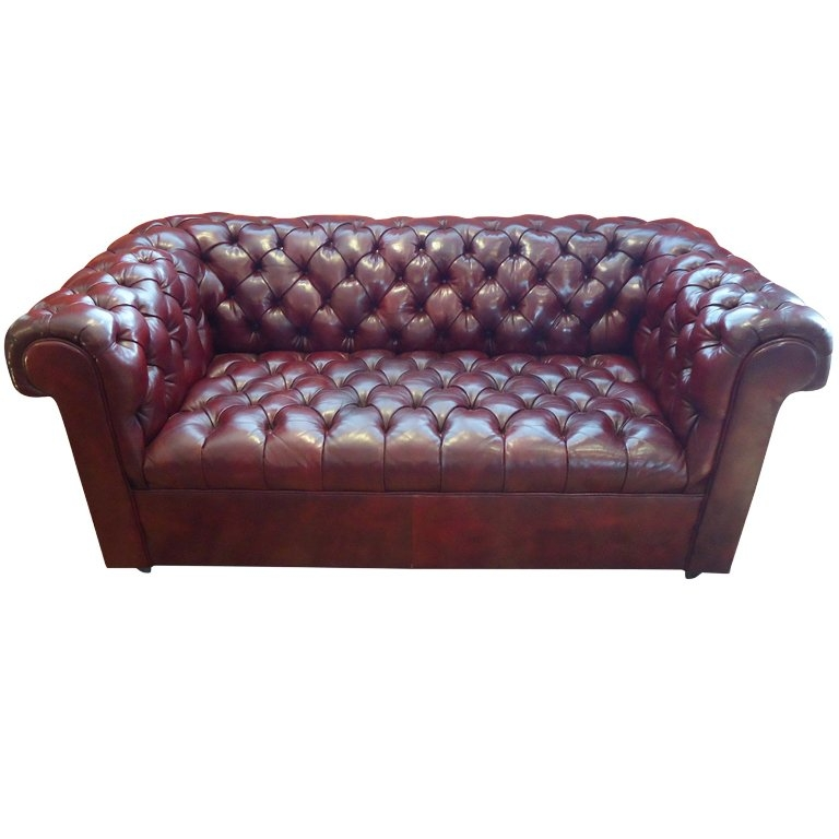 Cordovan Leather Small Chesterfield Sofa At 1stdibs Effectively For Small Chesterfield Sofas (View 13 of 20)