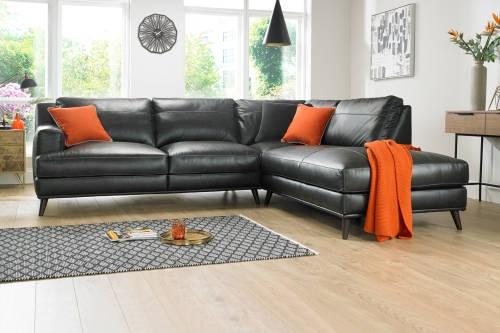 Corner Sofas In Leather Fabric Sofology properly inside Corner Sofa Leather (Image 2 of 20)