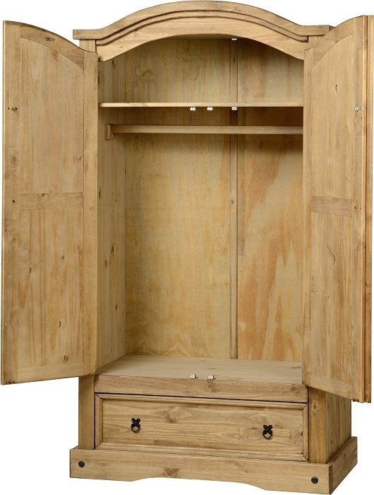Corona Mexican Pine Wardrobe Two Doors One Drawer good throughout Pine Wardrobe With Drawers and Shelves (Image 8 of 30)