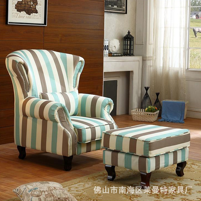 Country Single Seat Fabric Sofa Living Room Bedroom High Back Sofa perfectly inside Country Sofas and Chairs (Image 6 of 20)
