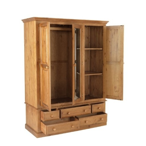 Country Solid Pine Triple Wardrobe With Drawers Furniture properly throughout Pine Wardrobe With Drawers And Shelves (Image 11 of 30)
