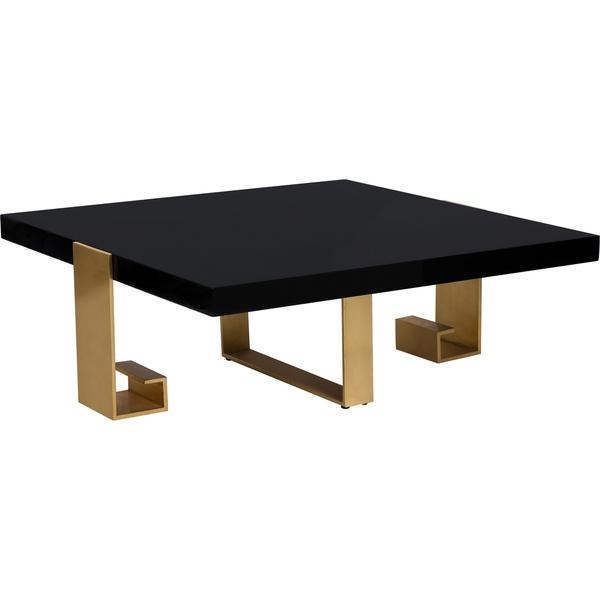 Couture Collection Roya Black Lacquer Gold Leaf Coffee Table very well with Lacquer Coffee Tables (Image 6 of 20)