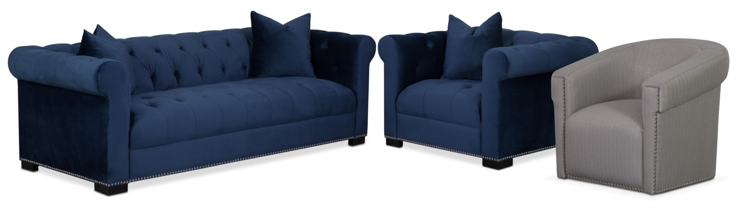 Couture Sofa Chair And Swivel Chair Set Indigo Value City clearly intended for Sofa and Chair Set (Image 11 of 20)