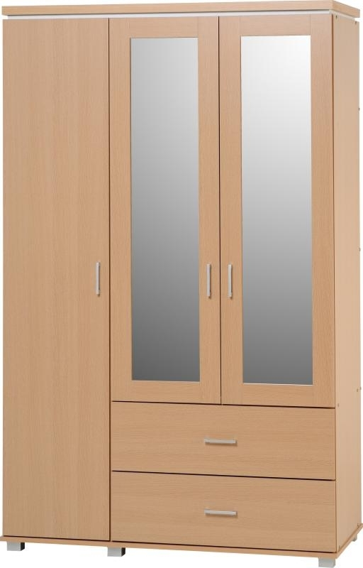 Credit Crunch Carpets Nottingham Julia 3 Door 2 Drawer Mirrored well intended for 3 Door Wardrobe With Drawers and Shelves (Image 20 of 30)