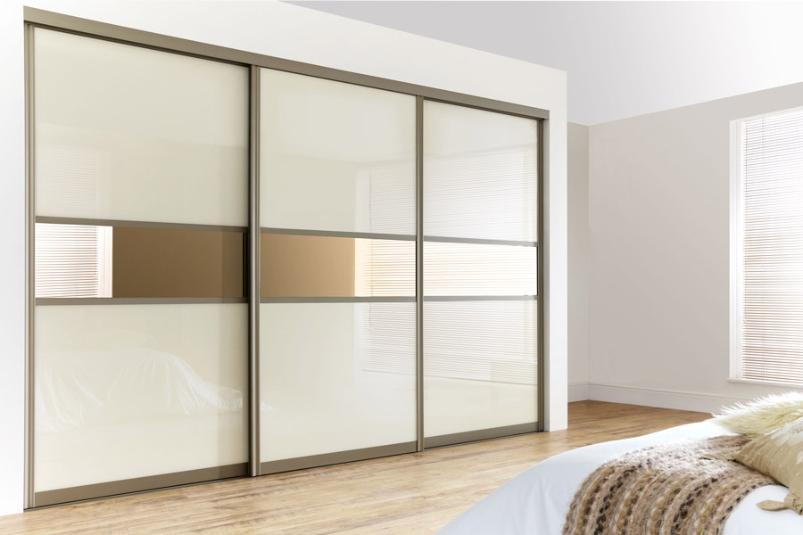 Curved Bronze Frame With Pearl White Glass Bronze Mirrors nicely regarding Curved Wardrobe Doors (Image 7 of 20)