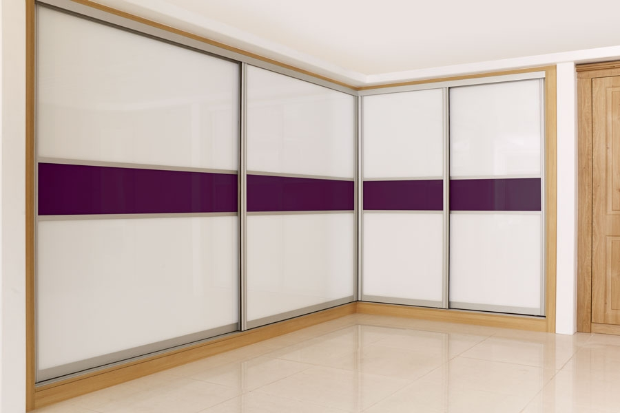 Curved Satin Silver Frame With Bright White Burgundy Glass most certainly in Curved Wardrobe Doors (Image 8 of 20)