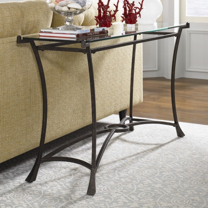 Curved Two Tones Glass Sofa Table With Shelf And Unique Bases nicely pertaining to Metal Glass Sofa Tables (Image 14 of 20)
