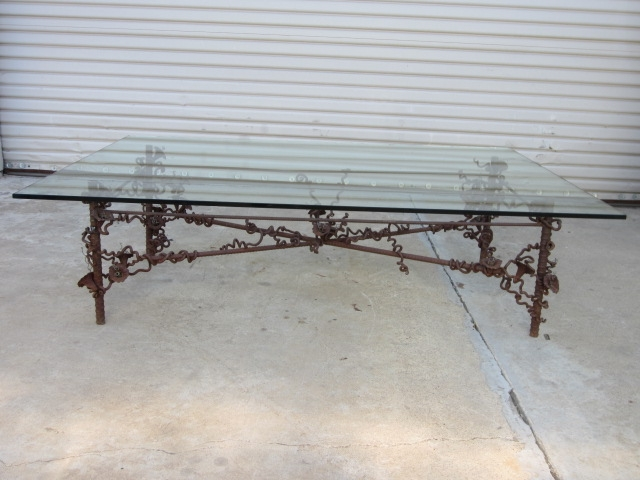 Custom Iron Base Glass Top Coffee Table Vintage Furniture effectively regarding Vintage Glass Top Coffee Tables (Image 15 of 20)