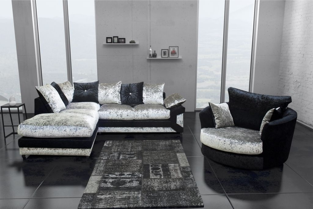 Dallas Black Silver Crushed Velvet Corner Sofa Including Foot most certainly throughout Corner Sofa And Swivel Chairs (Image 11 of 20)