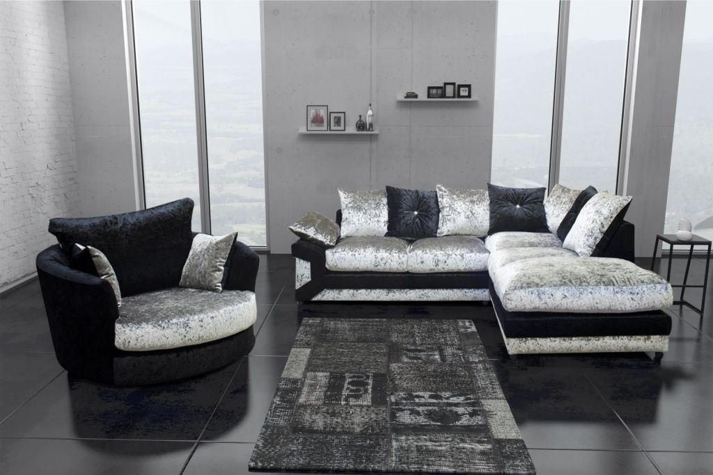 Dallas Black Silver Crushed Velvet Corner Sofa Including Foot properly intended for Corner Sofa And Swivel Chairs (Image 12 of 20)
