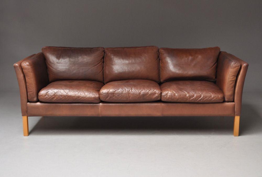 Danish Mogensen Style Leather Sofa Good Colour Seating Apollo certainly pertaining to Aniline Leather Sofas (Image 10 of 20)